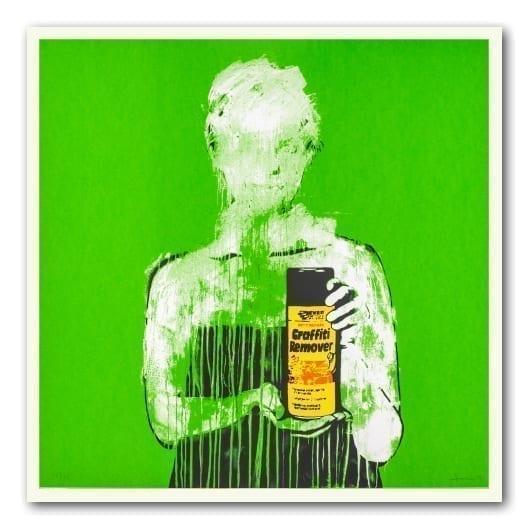 Graffiti Remover kunstverk av dolk i grønn