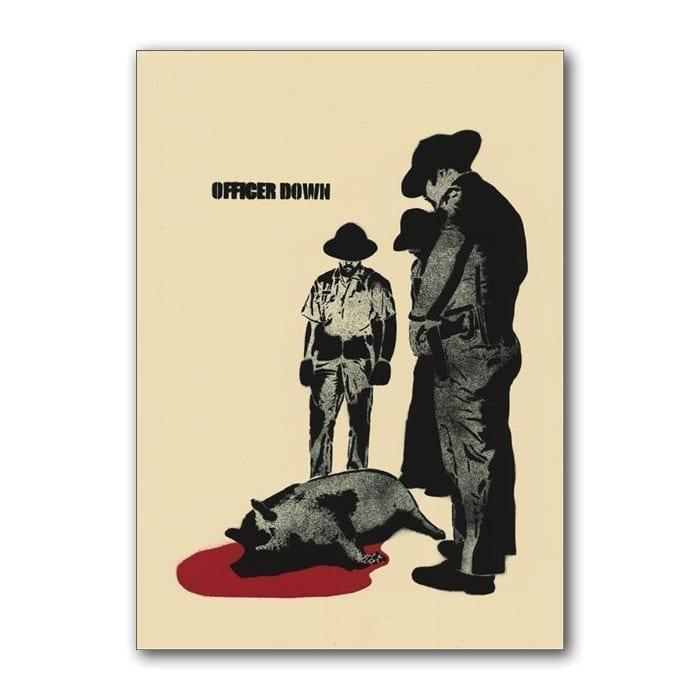 Silketrykk Politi som ser på skutt gris. Kunstverk av Dolk