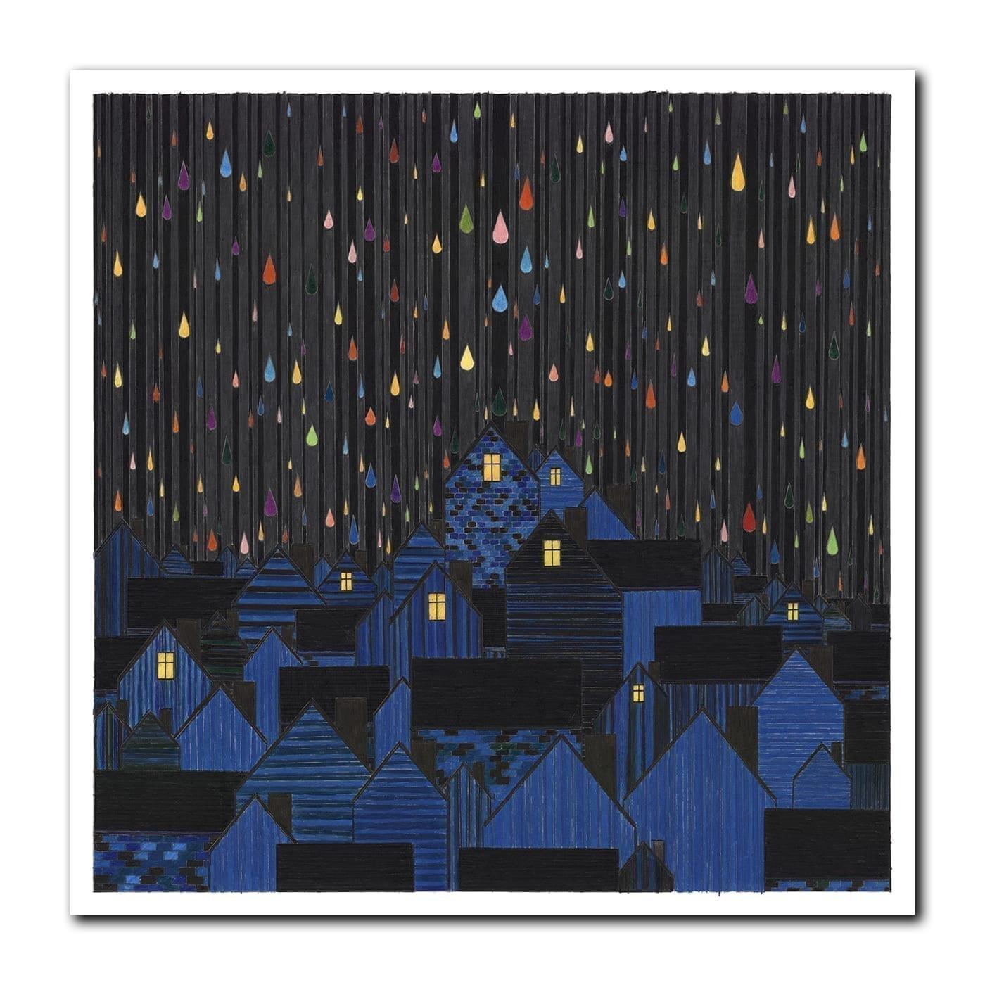 Fargerrike dråper faller over by om natten