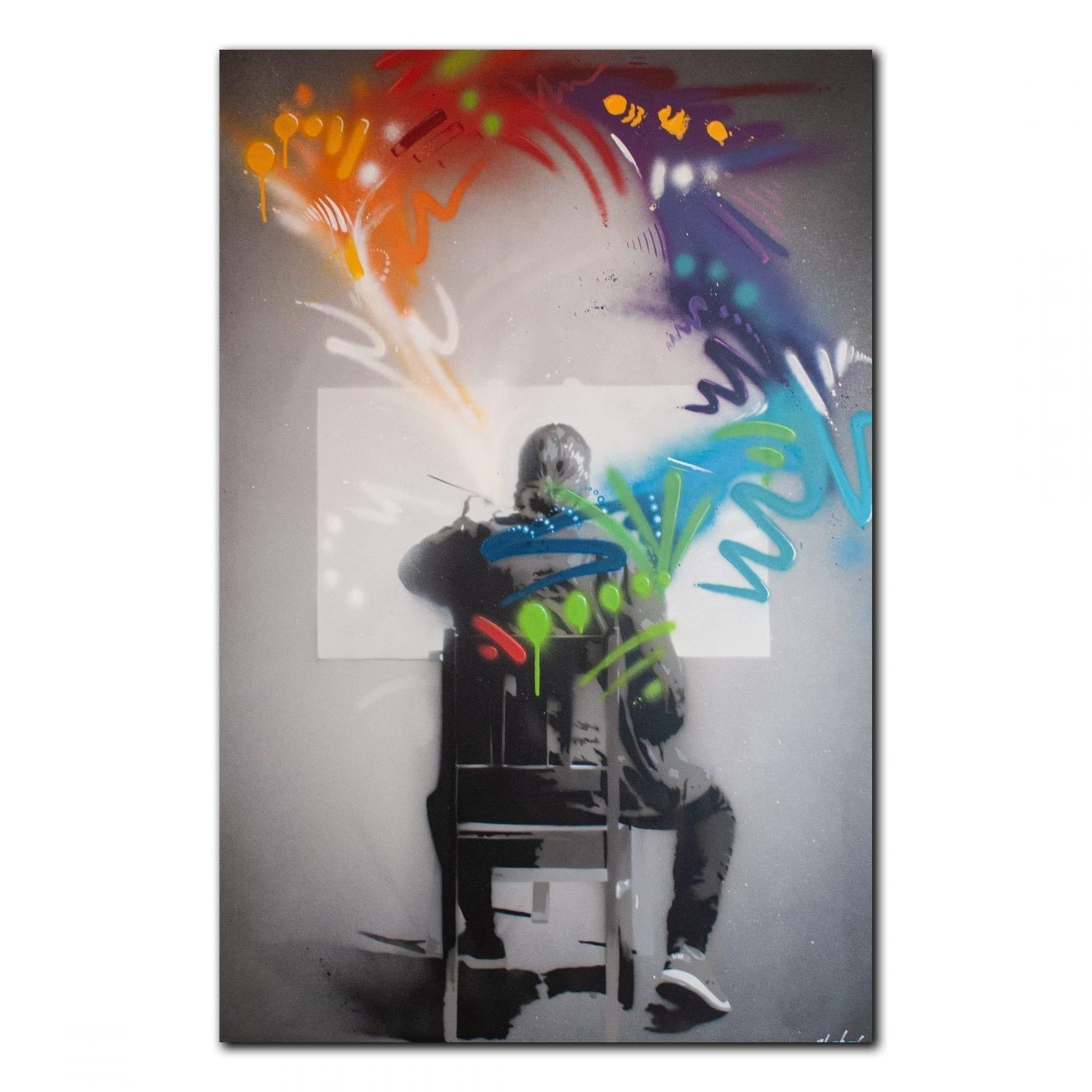En person maler et bilde. Laget av Bjor