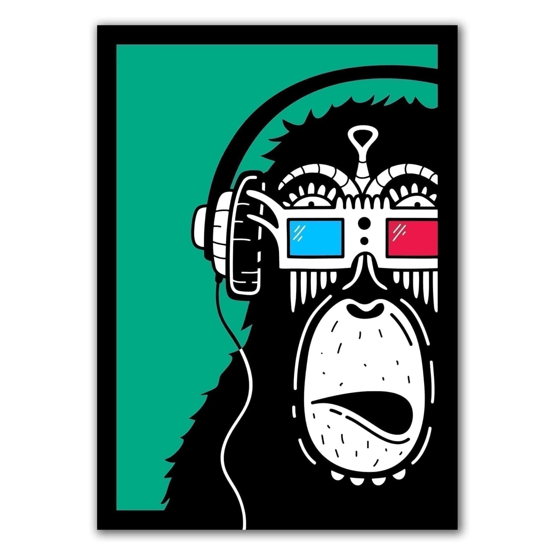Ape med 3D briller. Kunstverk av Ninjah