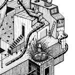 Detaljer fra kunstverk laget av Ninja som heter Daruma. Svart og hvitt